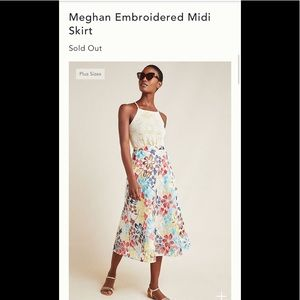 New sz 8 Eva Franco Meghan embroidered midi skirt